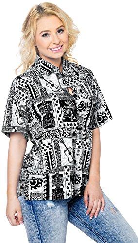 Hawaiihemd Blusen Wear der beiläufigen Frauen Knopf unten Kurzarmshirt Tank coverup Schwarz