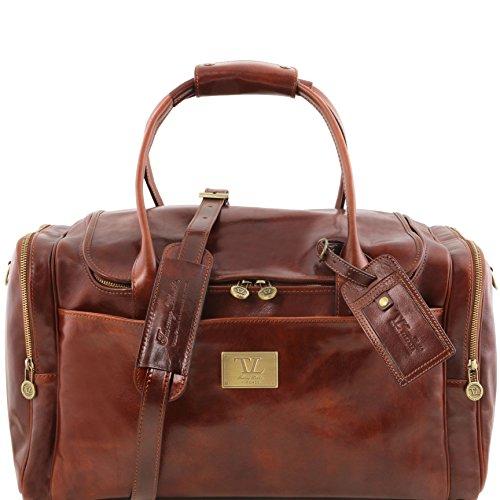 81412964 - TUSCANY LEATHER: Sac de voyage en cuir avec poches aux côtés, marron foncé