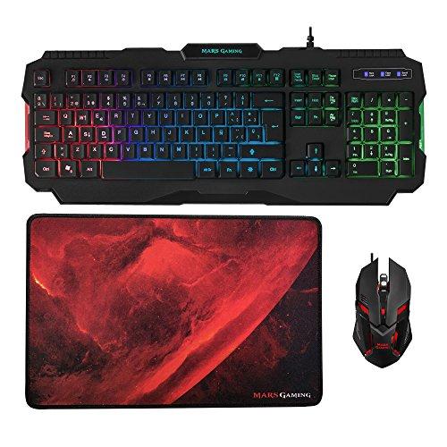 Mars Gaming MCP118 - Pack iluminación RGB de teclado, ratón y alfombrilla...