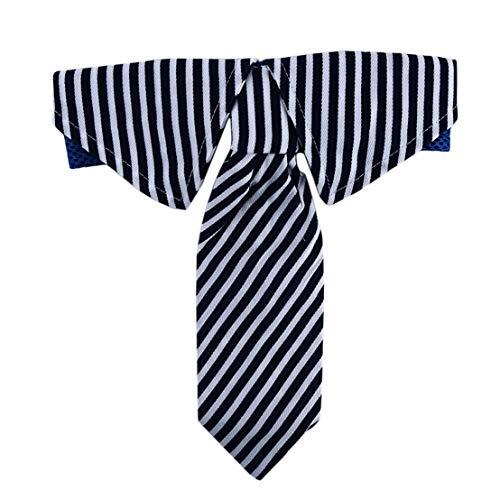 Kissherely Einstellbare Hund Krawatte gestreiftes Muster Hund Kostüm Kragen für mittelgroße Hund Haustier Zubehör (L Blau)