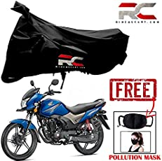 Riderscart Two Wheeler Cover Premium Bike Cover with Pollution Mask Combo for Honda CB Shine