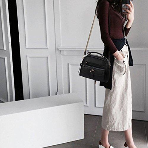 LaoZan Borsa A Mano Bauletto Da Donna Elegante Design Messenger Bag Nero Nero