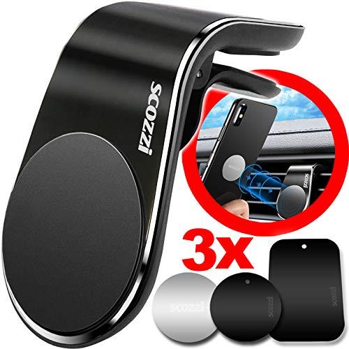 scozzi Handyhalterung Auto Magnet Lüftungsgitter, magnetische KFZ Handy Halterung Smartphone Lüftung Halter z.B. kompatibel mit iPhone 11 X XS XR 8/Samsung Galaxy S10 S9 S8/Huawei P30 Mate 30 Y7 Y6 Y5