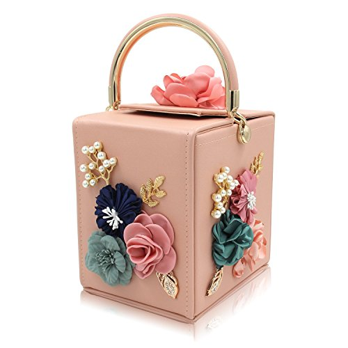 TUTU Borse da donna in pelle con pochette a forma di fiore quadrato perlato borse da sera borsa da sera con tracolla staccabile, Pink