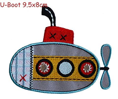 2Flicken zum Aufbügeln Stoff Applikationen U-Boot 9,5x 8und Affe 7x