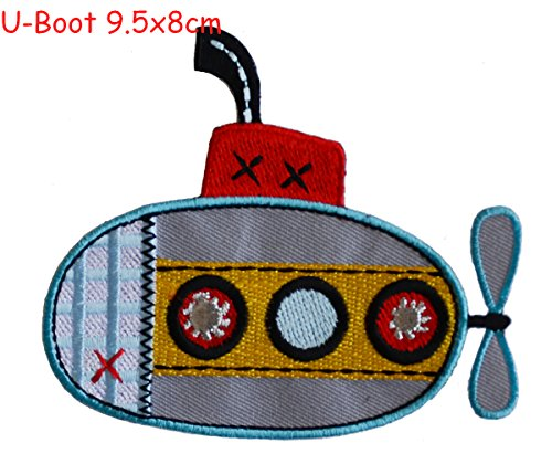 2 iron-on patches fabric appliques Submarine 9.5x8 and Fox 6.5x8cm TrickyBoo Design Zurich Ncaa Iron On Patches
