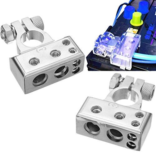 Qiorange 1 Paar 4/8 Awg Batterieklemme Positiv und Negativ Battery Terminal Autobatterie Klemmen (Type B Set Silber)