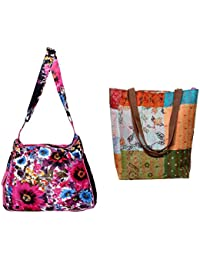 Indiweaves Combo Pack Of 1 Silk Kantha Tote Bag And 1 Cotton Shopper Bag (Pack Of 2) 82100-132227-IW-P2