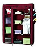 YUTIRITI Fancy Double Door Large Maroon Portable Multipurpose Waterproof Fabric Wardrobe Closet Organizer - 51 x 17 x 68 Inch