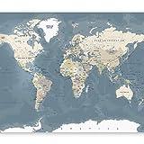 murando Papier peint intissé Carte du monde 350x256 cm Décoration Murale XXL Poster Tableaux Muraux Tapisserie Photo Trompe l'oeil Ornament Continent Carte k-B-0063-a-a