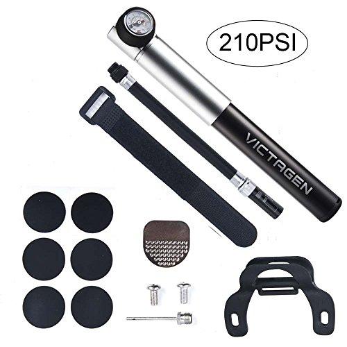 Victagen Tragbare Hochdruck Mini Fahrradpumpe 260 PSI mit Druckmesser Inklusive Reifenflickensatz und Luftaufblasnadeln für Bälle