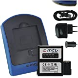 Batterie + Chargeur (USB/Auto/Secteur) pour AEE Magicam S51, S60, S70... / Veho MUVI K2 / Nilox F-60 Evo (4K) / KitVision Edge HD30W [3.7V - 1450mAh - Infochip]