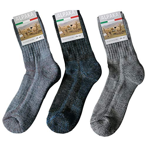 Gesundheitsstrumpf 3 Paar Alpaka Wolle & Wolle Funktionssocken Wandersocken Outdoor Trekkingsocken Socken Frotteesohle, Grau Blau Mehrfarbig, 43-46 -