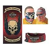 Dodo, bandana scaldacollo da biker, marchio Harley Davidson, stampa con teschio, senza cuciture