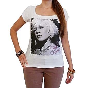 Pink : T-shirt Femme photo de star - Blanc, S, t shirt femme,cadeau