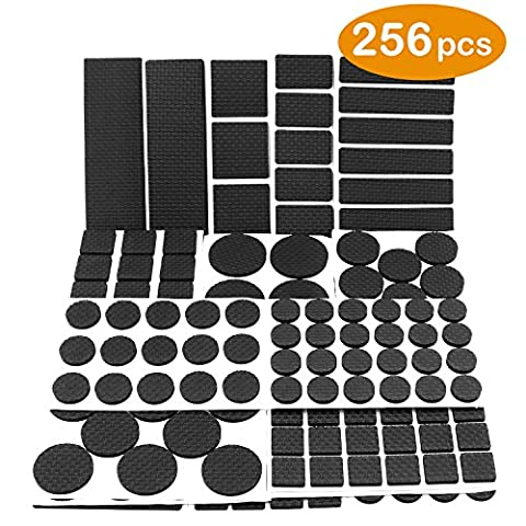 Lightweight Reduced Non Slip Furniture Rubber Pads by DigHealth, Large Pack of 256 PCs and Assorted Sizes, Heavy Duty Adhesive-Best Chair Leg Covers and Tiled, Laminate, Hardwood Flooring