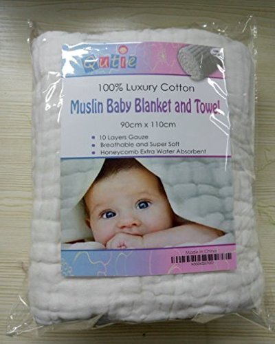 Luxury White 10 Layer Muslin Cotton Dual Warm Baby Blanket and Bath Towel also to Swaddle plus a FREE Premium Bamboo Baby Washcloth! Best For Sensitive Skin and To Prevent Bacterial Infections