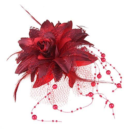 Skyllc® Feder Organza rot Haarspange Haarklammer Zuchtperle Haarblüte TREND