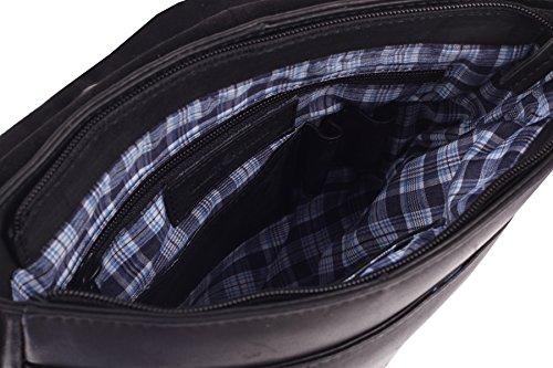 Greenburry Pure A4 Borsa a tracolla pelle 23 cm scomparto tablet Black
