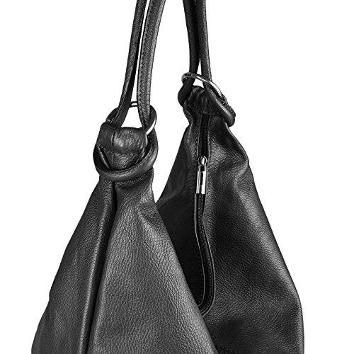 d05c0ff0069c77 OBC Made in Italy Damen XXL Ledertasche Wildleder Shopper Tasche  Schultertasche Umhängetasche Beuteltasche 41x34x12 cm BxHxT Dunkelblau  Schwarz Leder ...