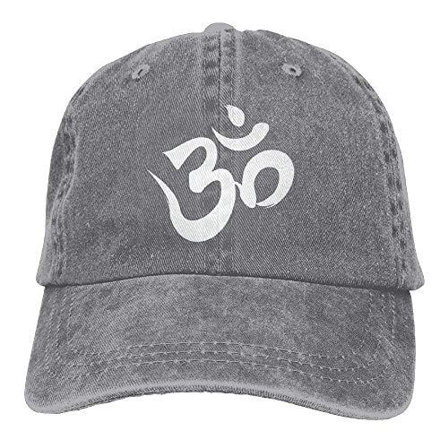 Om Symbol White Trend Printing Cowboy Hat Fashion Baseball Cap for Men and Women Black