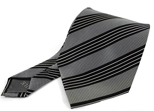 Krawatte Seidenkrawatte aus 100% Seide grau schwarz weiß, Streifen R-150 (Geometrische Seidenkrawatte Schwarz)