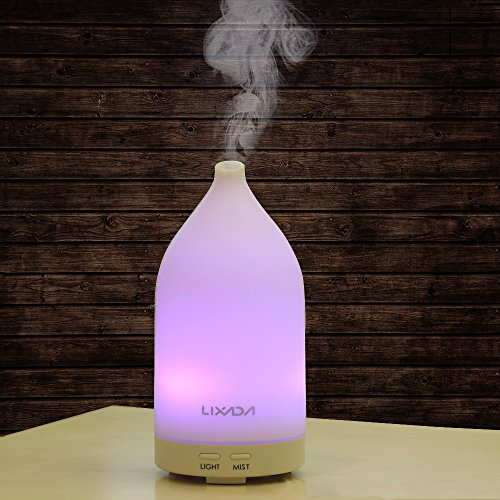 Lixada Ultrasónico Aroma Humidificador, Difusor de Aceite Esencial, 7 Color LED Lámpara de Noche Brillo Ajustable Seguro y Purifique el Aire Perfecto para Oficina en Casa Sala de Niños