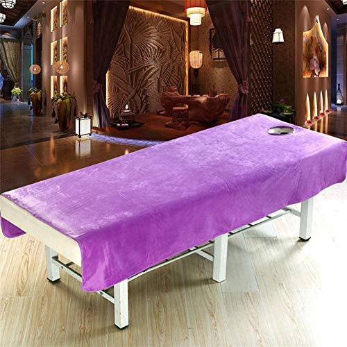 Bett Spa (szyzl88 Massageliegen-Bezug mit Gesichtsloch Korallen-Samt Massageliege, Massageliege, Spannbettlaken für Beauty-Salon, Spa Bett, violett, 80cm x190cm)