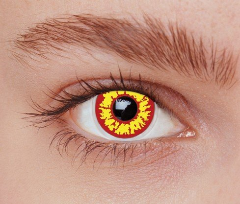 Lentillas cosplay de color amarillo y rojo