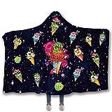 Devil Angel Kapuzendecke, Kinder-Nickerchen-Decke, Digitaldruck Fleecedecke aus Baumwolle Warm und umweltfreundlich, mit hoher Farbechtheit, waschbar, ohne zu verblassen,D,150 * 200cm