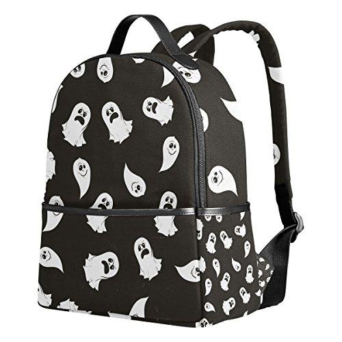 e schwarz und weiß Geister-Emoji-Rucksack Schultertaschen für Mädchen Jungen ()