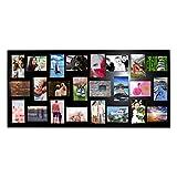 Collage Bilderrahmen - 24 Fotos (15x10) Schwarzer Bilder Collage Rahmen (115x50cm) Holz Fotorahmen 12 Porträt und 12 Landschafts-Fotos - Wand Foto Display mit Haken Schrauben Dübeln und Inbusschlüssel