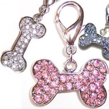 Artikelbild: Halsbandanhänger mit funkelnden Strass - Rosa Knochen von Dogs Stars