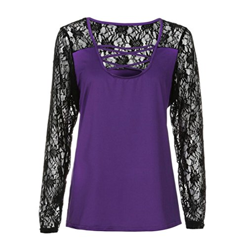 Yogogo Mode Femme Manches Longues Chemisiers Sweatshirts Sexy Blouses Tops Mode Dentelle Patchwork Slim Fit Clubwear SoiréE Col Rond T-Shirt Violet