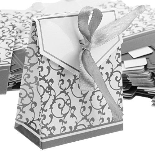 gkeit Lolly Box Hochzeit Party Bevorzugung Geschenk Box Cookie Tasche mit Band - Silber, 6,9 x 3,6 x 8,3 cm (Cookie-bevorzugung Taschen)