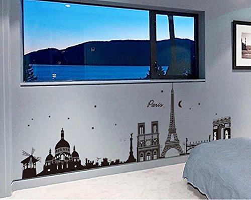 ufengke® Paisajes París Luz de la Luna Pegatinas de Pared, Sala de Estar Dormitorio Removible Etiquetas de la Pared / Murales