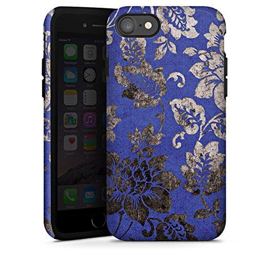 Apple iPhone X Silikon Hülle Case Schutzhülle Ornament Blumen Silber Tough Case glänzend