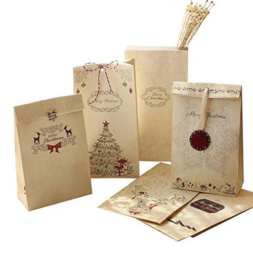 Toruiwa sacchetto di carta kraft paper bag party bag tasca portaoggetti per caramelle sacchetto regalo novità decorazione feste, confezione da 10colore casuale