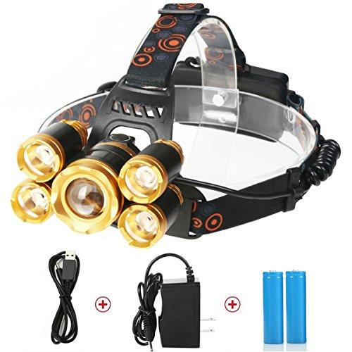 TKSTAR LED Headlamp Headlight Wasserdicht Einstellbare LED Kopflampe Super Hell 5 CREE LED 8000 Lumen Wiederaufladbare Zoomable Kopfbrenner Scheinwerfer für Outdoor Wandern Camping Jagd Angeln L015