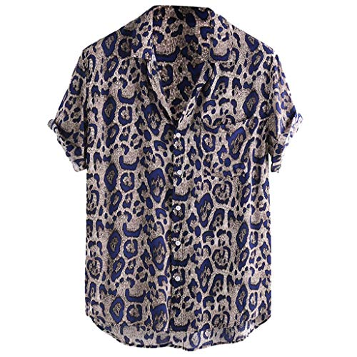 Xmiral camicia casual allentata a maniche corte con colletto tascabile stampato girocollo in leopardo (xxxl,6- blu)