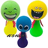 A'SHOP Cute & Funny Smiley Emoji Jump ELF Fly Ball Toys Emoji Finger Toys, Interactive Bounce Toys, Stress Relief Jump Toys With Funny Expression Return Gifts For Kids Birthday Party (Pack Of 3).