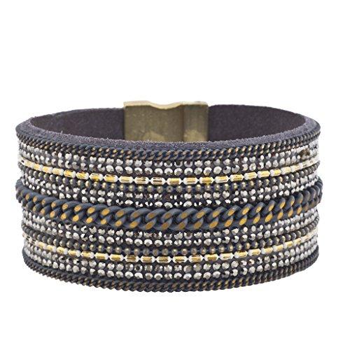 Lux accessori blu multi catena ematite pietra tono oro ruggine braccialetto magnetico