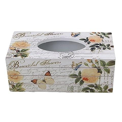 BQLZR 24x11.8x9.3cm Multicolor Yellow Rose Flower Pattern European Tissue Box