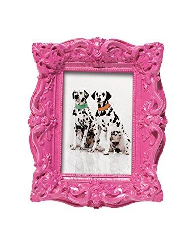 Bilderrahmen Shocking Barock, 4 Farben z. Auswahl, für Fotos 6x9cm, Material: Polyresin, mit Ornamenten im Kitsch- Barock- Stil in, zum Aufstellen im Hoch- oder Querformat, K30446:pink