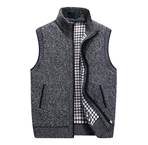 GKKXUE Herren Strickwolle Weste, Herbst Winter warme Pullover Weste Vater Geburtstagsgeschenk Größe M bis XXXXL (Farbe : Dunkelgrau, größe : XXL)
