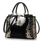 AlwaySky Borsa a tracolla per donna, borsa a tracolla per borsa di alta qualità, borsa a tracolla di design elegante Borsa in vernice per affari, feste, matrimonio, viaggi, shopping (nero)