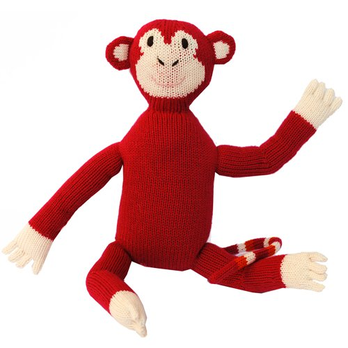 Loralin Entwurf MONR Knit Red Monkey, 14,5 in. Toy (Designs Red Monkey)