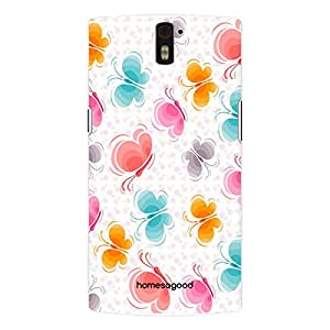 HomeSoGood Maneuvering Butterflies Pattern White 3D Mobile Case For OnePlus One (Back Cover)