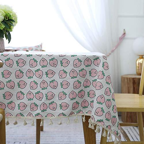 Tischdecke Stoff Baumwolle und Leinen Kleine frische Anti-Hot Tee Tischset Tischdecke Mädchen Herz Nordic Schreibtisch Hübsche Tischdecke tablecloth clips for tables (Color : Pink, Size : 140 * 200) (Pink Herz Tee Hot)