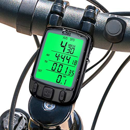 Fahrradcomputer, Mture Fahrradcomputer Kabellos Fahrradtacho Drahtlos Wasserdicht Radcomputer Kabellos Tachometer LCD-Hintergrundbeleuchtung-Display für Radsport Realtime Speed Tracking - Schwarz